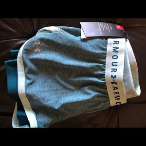 Under Armour Athletic Shorts Mesh Tights Blue Teal